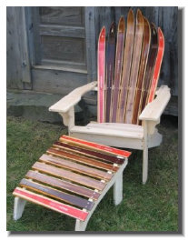 Wooden Nordic Ski Chair with matching footstool